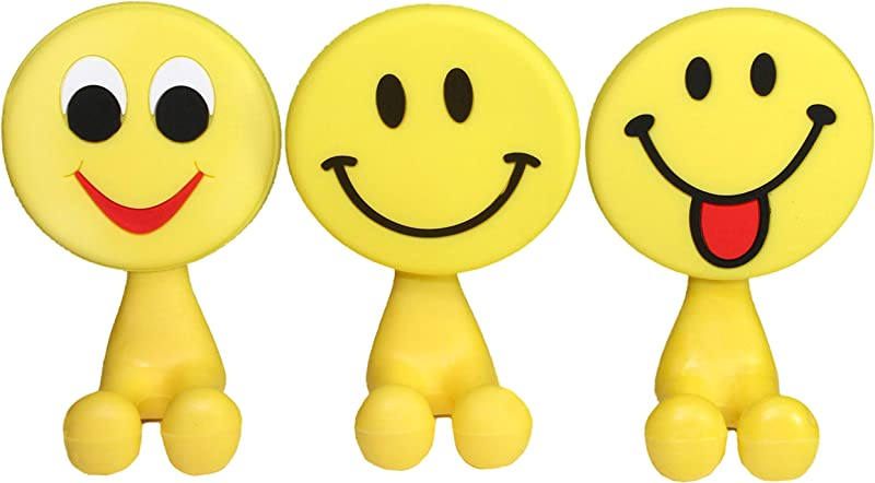 Lucore Happy Smiley Face Toothbrush Holder Utility Suction Hook Set Of 3 Pcs Emoji Emoticon Style Rubber Wall Hanger Hooks