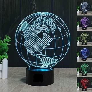 SUPERNIUDB Earth America Globe 3D Illusion LED Night Light 7 colour Desk Table lamp Gifts