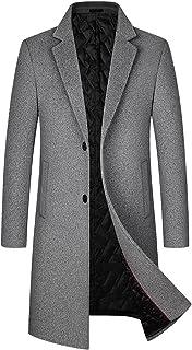 BININBOX Abrigo de lana de longitud media para hombre para la moda de otoño e invierno más engrosamiento de algodón