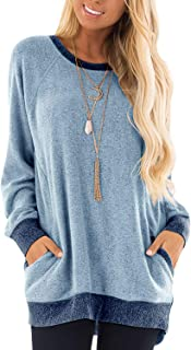 Women's Color Block Long Sleeve Tunic Tops Crew Neck Sweatshirt Pockets Loose Casual Blouse Shirts