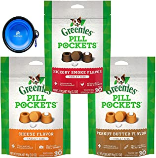 GREENIES PILL POCKETS Soft Treats Tablets Variety 3 Pack for Dogs (Cheese,Peanut Butter & Hickory Smokey) W/