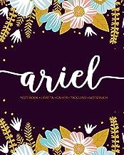 Ariel: Notebook   Libreta   Cahier   Taccuino   Notizbuch: 110 pages paginas seiten pagine: Modern Florals First Name Notebook in Light Pink, Baby Blue & Mustard Yellow on Navy ACH328