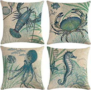 """Ocean Theme Coastal Throw Pillow Covers With Crab-Octopus-Lobster-Seahorse-Seashell-Fish-Starfish-Seaweed Nautical Pillow Cases For Beach House Home Decorative 18""""×18"""" Cushion Cover,4Pack(Sea Animals)"""