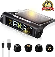 Zmoon TPMS Car Tire Pressure Monitoring System Solar Power Universal Wireless LCD Display with 4 External Sensors Real-time Display 4 Tires' Pressure & Temperature