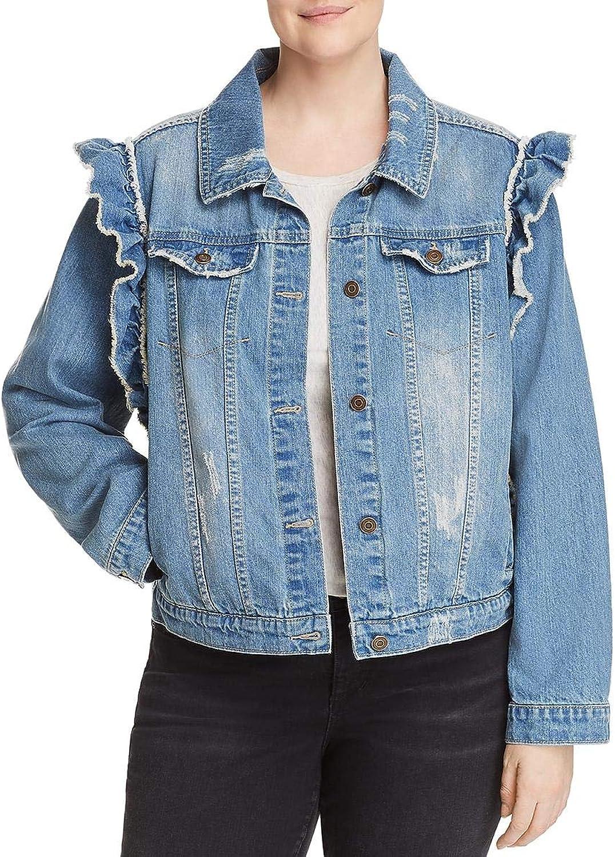Bagatelle Womens Plus Fall Ruffled Denim Jacket