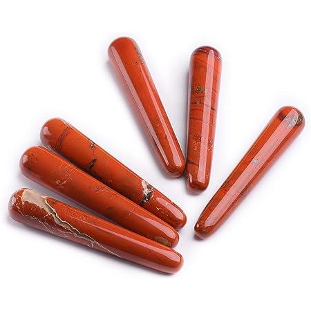Red Jasper Gemstone 8 Faces Pencil Wand EMF Protection Reiki Healing Home Decor