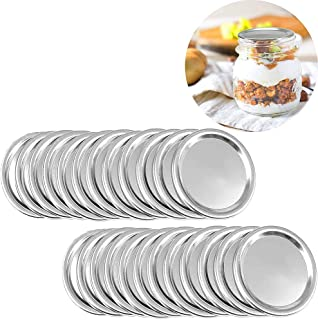 24 wide Mouth Mason Jar Lids, Split-Type Canning Jar Lids with Leak Proof Silicone for Mason Jar Canning Lids (Regular Mouth)