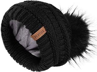 Winter Slouchy Beanie Hats Women Fleece Lined Warm Ski Knitted Pom Pom Hat