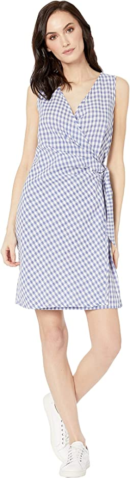 Gingham Sleeveless Wrap Dress