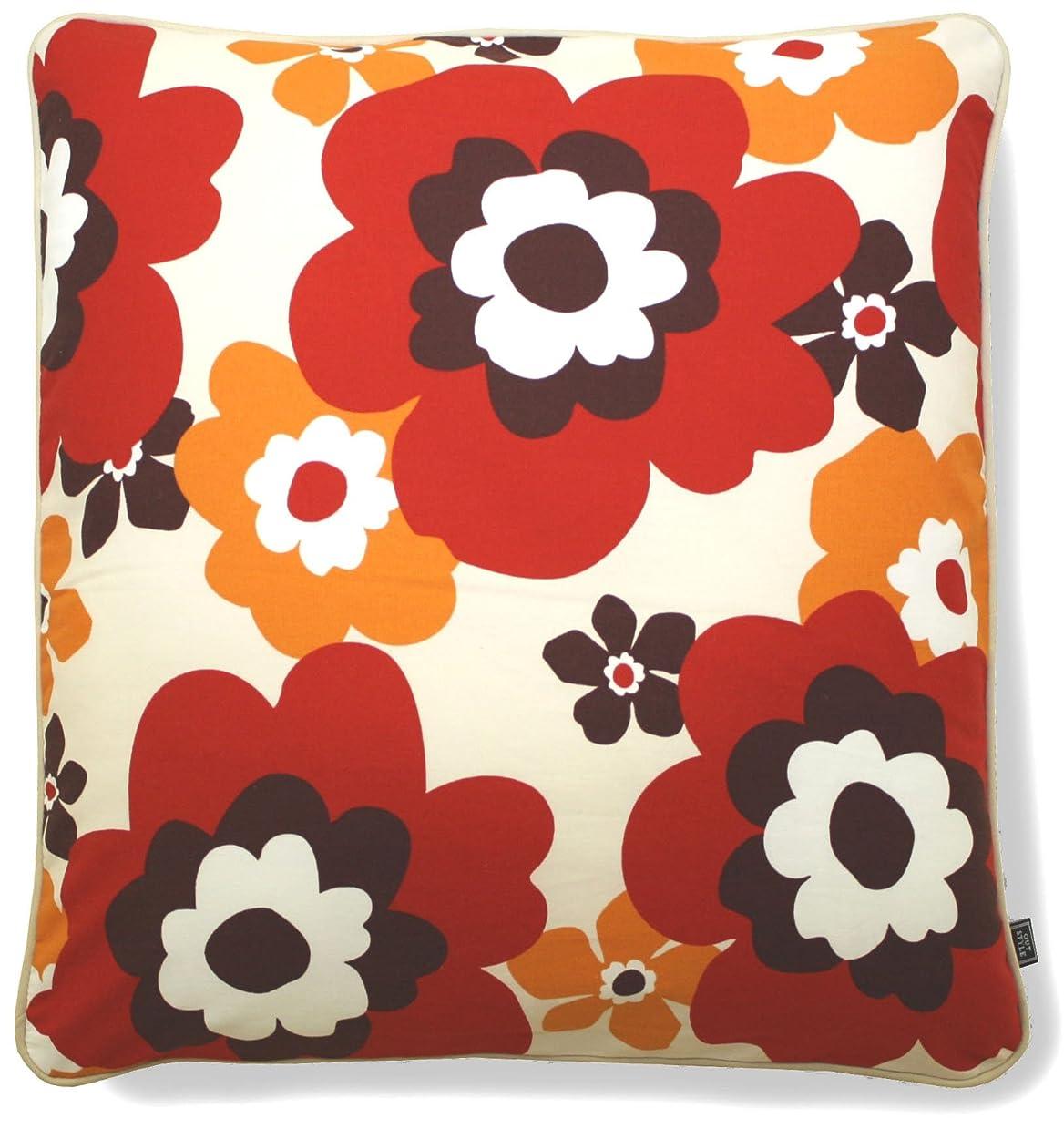アウトスタイル 座布団カバー 55x59cm 綿プリント 北欧 花柄 レッド