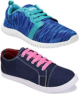 Shoefly Women Combo Pack of 2 Multicolour Latest Collection Loafers Sneakers Shoes (Combo-(2)-1162-11029)