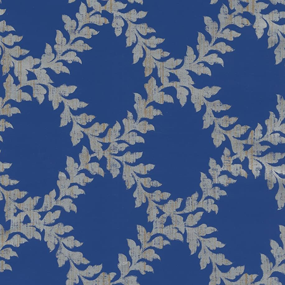 Caspari 96921RC Acanthus Trellis Blue And Silver roll of gift wrap,