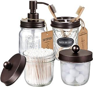 ست لوازم جانبی حمام شیشه Mason Jar (4 بسته) -دستگاه صابون لوسیون برنز
