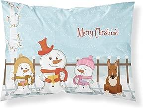 Caroline's Treasures Merry Christmas Carolers Bull Terrier Red Fabric Standard Pillowcase BB2465PILLOWCASE,