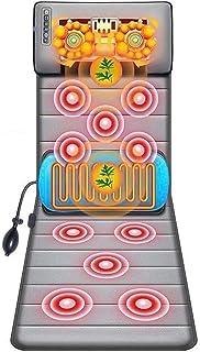 ZMTSB Cojín Masaje Calefacción Corporal, Shiatsu Cuello Masajeador Masaje Colchón Masaje 20 Cuello Shiatsu Amasado Masaje Cabezales, 10 Motores Vibración Alivie Dolor, Gris (Color : Gray)