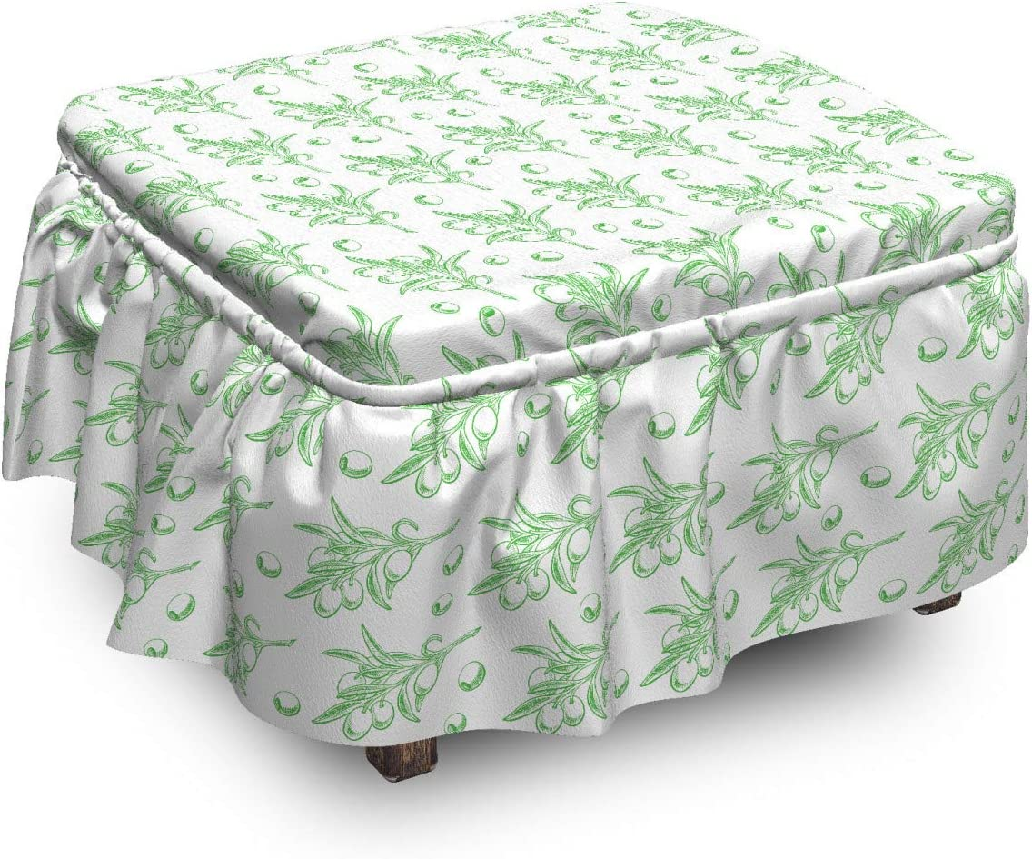 Lunarable Green Leaves Ottoman Cover Deluxe 2 Branches Garden Olive Ranking TOP11 P