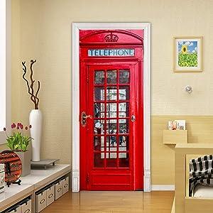 Door Sticker Decor Removable Mural Wallpaper of PVC Art Sticker, London Red Phone Booth Wall Decal Art 3D Wallpaper
