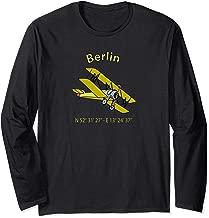 Berlin Coordinates Vintage Biplane Aviators Long Sleeve T-Shirt