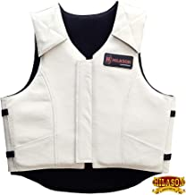 Hilason Bull Riding Pro Rodeo Leather Vest Gear Equipment White
