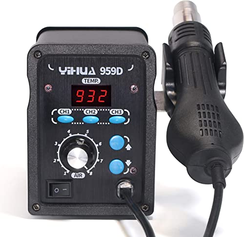 wholesale YIHUA 959D Hot Air Station Quick Heating 100°C~500°C Adjustable Temperature 120L/Min wholesale Maximum 2021 Air Volume with three preset channels for Rework Projects outlet sale