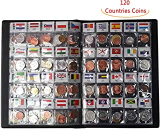 Coin Collection Set Fine Coins 60 Nations Collection Coins Starter Kit 100% Original Genuine with Leather Collection Album Country Flag and Name(60 Countries Coins) (120 Countries)