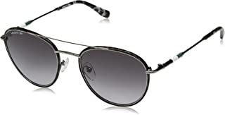Lacoste Men's L102snd Metal Oval Novak Djokovic Capsule Collection Sunglasses, Gunmetal, 51 mm