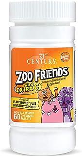 مكمل متعدد الفيتامينات والمعادن زوو فريندز مع فيتامين سي إضافي، تدعم مضادات الأكسدة والمناعة، 60 قرصًا يمكن مضغه
