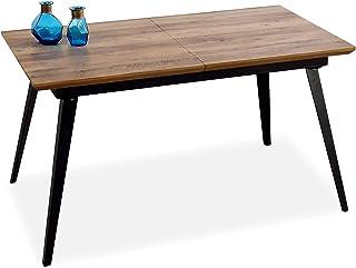 Adec - Branch Mesa de Comedor Mesa Salon Extensible Color Nogal y Negro Medidas: 140-180 cm (Largo) x 80 cm (Ancho) x 7...