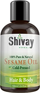 Shivay Herbals Cold Pressed 100% Pure Sesame Oil for Hair & Body 3.4 oz / 100ml
