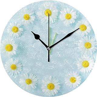 Chovy 掛け時計 置き時計 北欧 おしゃれ かわいい サイレント 連続秒針 壁掛け時計 インテリア 菊 花 ブルー ホワイト 可愛い かわいい おもしろ 部屋装飾 子供部屋 プレゼント