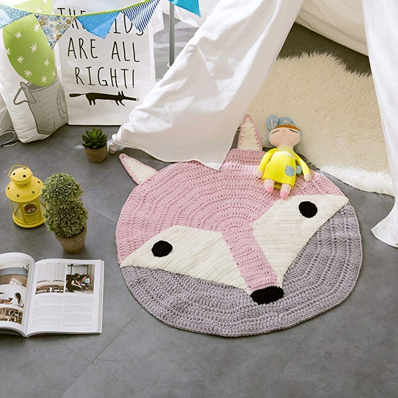 YEVEM Cartoon Cute Fox Pink Round Rugs For Kids Baby Cotton Woven Knitted Area Rugs Carpet Girls Bedroom Decor Kids Room Play Mats Fox
