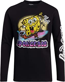 Nickelodeon Spongebob Long Sleeve T-Shirt - Retro 90's Cartoon Graphic Tee: Rugrats & Hey Arnold (Big Boys)
