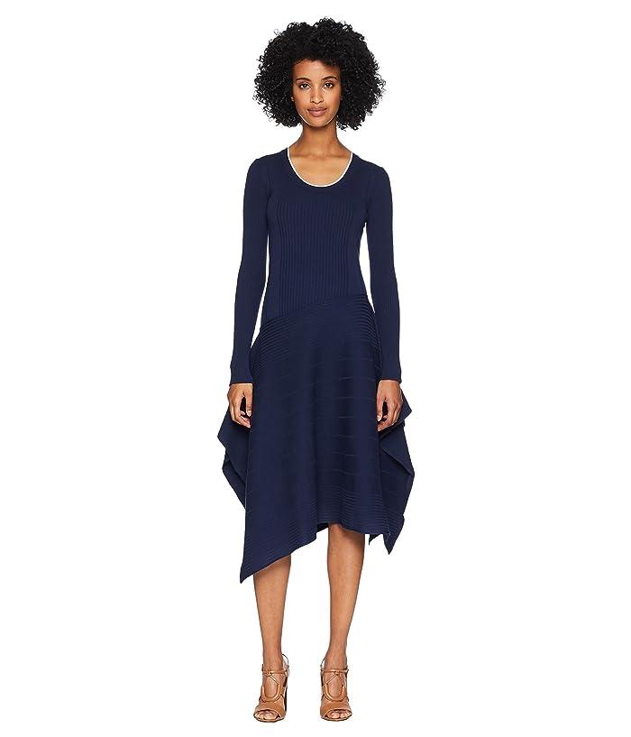 Sportmax Gerba Long Sleeve Scoop Knit Dress (Midnight Blue) Women
