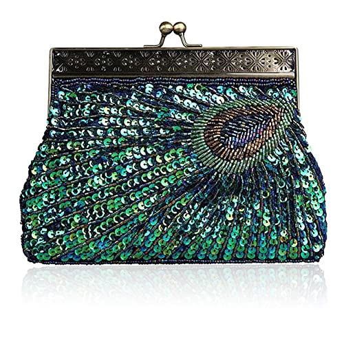 7fbe2b5d9723d Vintage Clutch Teal Peacock Unusual Antique Beaded Sequin Evening Handbag  Sunburst Eye Catching Purse