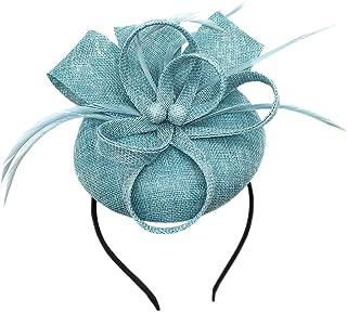 Biruil Women's Fascinator Hat Imitation Sinamay Feather Tea Party Pillbox Flower Derby