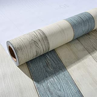 Faux Wood Contact Paper Blue Self Adhesive Waterproof 15.7