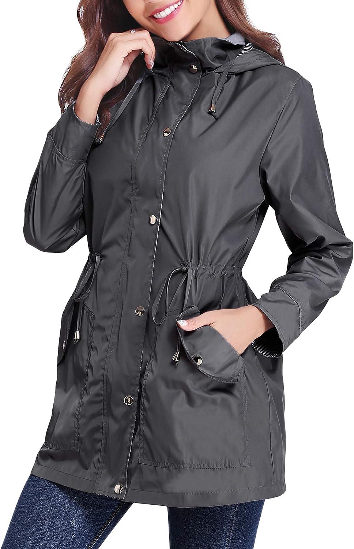 IClosam Women Raincoats Waterproof Rain Jacket Lightweight Hood Lining Jacket Windbreaker