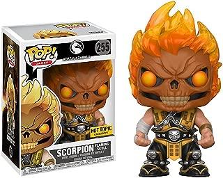 Funko Scorpion Flaming Skull (Hot Topic Exclusive) POP! Games x Mortal Kombat Vinyl Figure + 1 Video Games Themed Trading Card Bundle (22510)