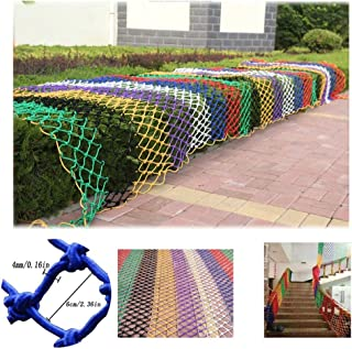 HWJ Child Safety Stair Net Protection Net Wall Decoration Net Anti-cat Net Anti-fall Net Indoor Available Hand-woven Net Rope Thick 4mm Mesh 6cm  Size 3x8m