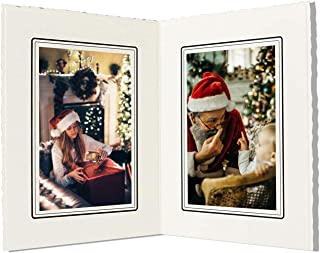 Golden State Art, Cardboard Photo Folder For Double 4x6 Photo (Pack of 50) GS004 Ivory Color
