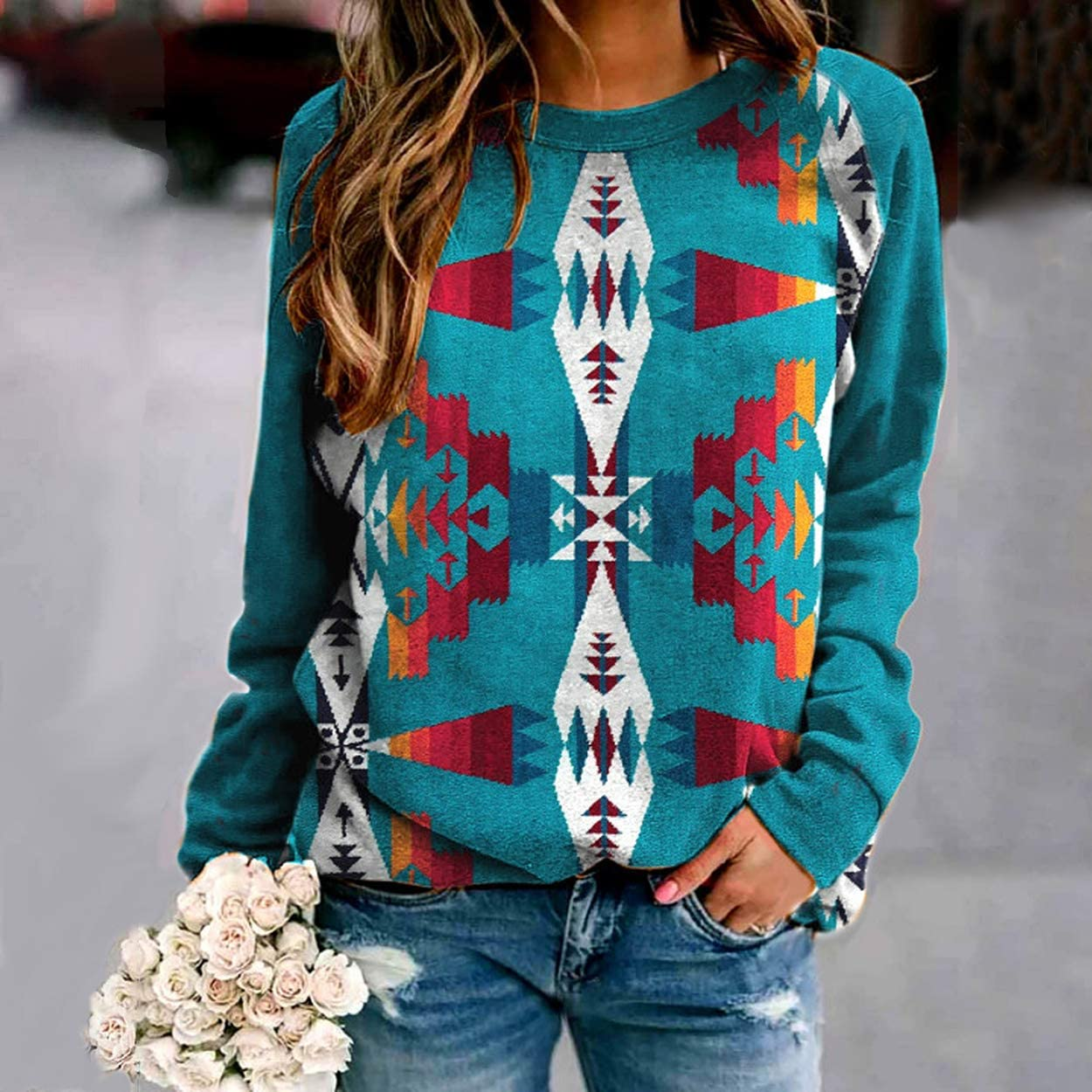 Western Shirt for Women, Western Style Color Block Geometric Pattern Printed Long Sleeve Thin Sweatshirt Pullover Top