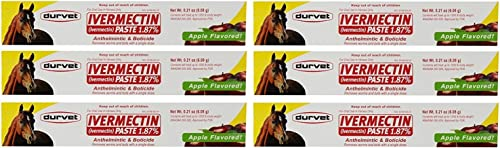 Durvet Ivermectin Paste Dewormer - 6.08g dose @ 1.87% Apple Flavor (6-Pack)