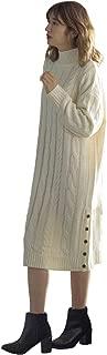 [神戸レタス] サイドボタン付き ケーブルニット ハイネック ロング丈 ワンピース レディース [E1941]