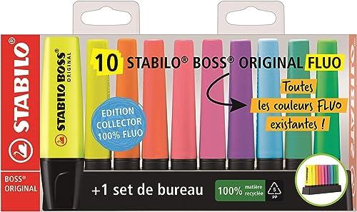 Surligneur - STABILO BOSS ORIGINAL - Set de bureau x 10 surligneurs fluo