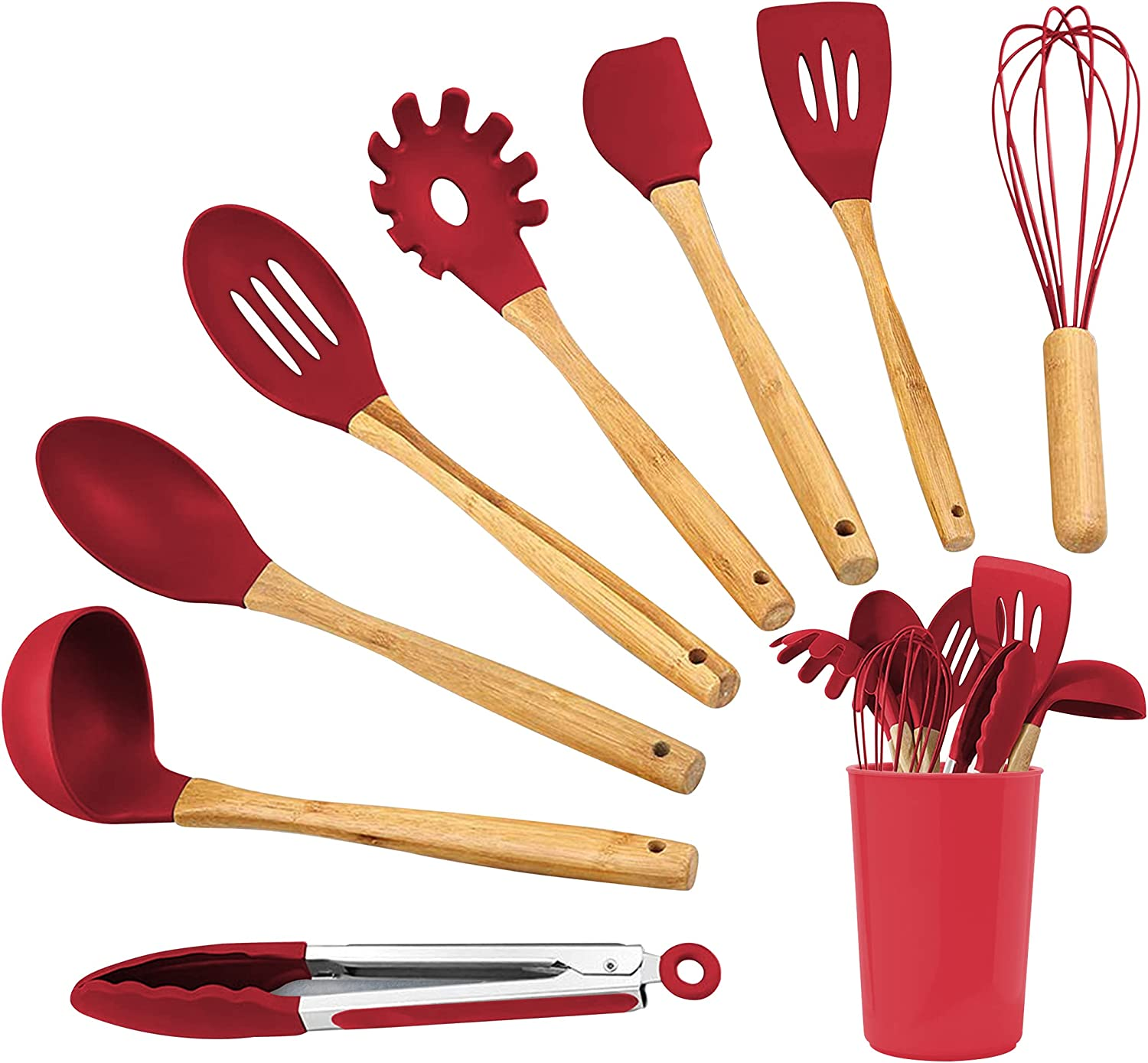 Kitchen 4 years warranty Silicone Utensil 8 Piece Set Cooking Houston Mall with Wooden Han For