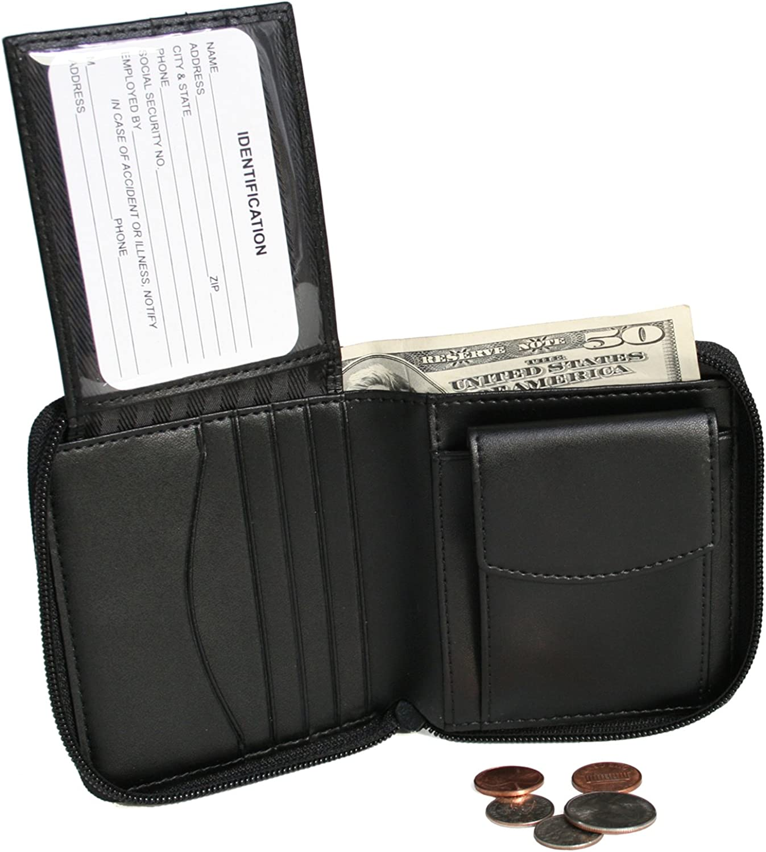 Royce Leather Zip Around Men's Wallet (Black)