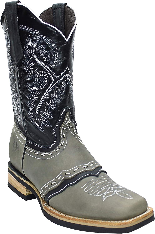 Silverton Men's Wyoming Sales Genuine Leather Toe Western Bargain Square Grey