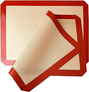 kuou Lot de 2 tapis de cuisson en silicone, anti-adhésifs, lavables et résistants à la chaleur, pour macarons, cookies, pa...
