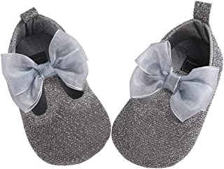 lakiolins Baby Girls Shiny Princess Dress Crib Shoes Bowknot T-Strap Mary Jane Flats