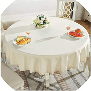 Round Table Cloth Cotton Linen Table Cover Plaid Grid Pattern Christmas Tablecloth Lace Edge Wedding Party Decor Tablecloths,Champagne,Diameter 120cm Round